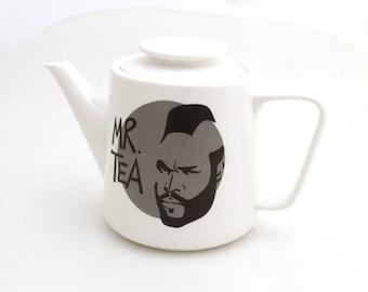 Mr. T Teapot, Mr. Tea pot, Mr. Tea teapot with grey circle, large porcelain teapot, gift for tea drinker, have some tea fool