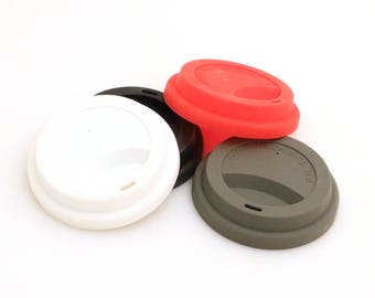Silicone lid for travel mug, choice of colors, lid for latte mug or travel mug, BPA free,  Set of FOUR