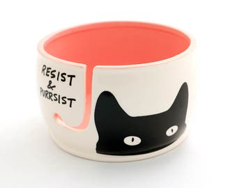 cat yarn bowl - pink pussycat hat makers bowl  - womans march - resist - girl power - crochet bowl - yarn keeper - knitty cat