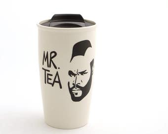 Father's Day gift for Dads who drink tea, Mr. Tea travel mug DL