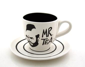Mr. T Tea Tea cup and Saucer, Black and white, tea cup and saucer, teapot sets, tea cups, pottery and ceramic teacup