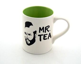 Mr T Mug Tea Cup Featuring Mr. T THE ORIGINAL an 80s Retro Flashback LIME