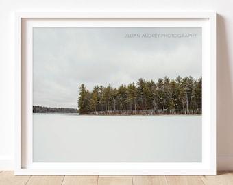 Landscape Photography, Nature Photograph, Serene Minimal, Forest Art Prints, Landscape Print, Lake and Trees Art, Winter Photograph
