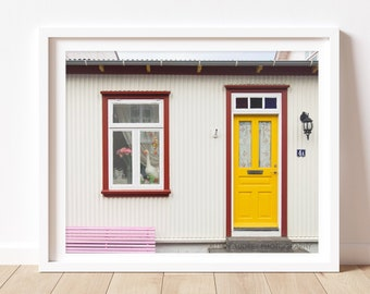 Door Photography, Reykjavík Photography, Iceland, Travel Photograph, Architecture, Kitsch Photograph, Yellow Door, Colorful Building