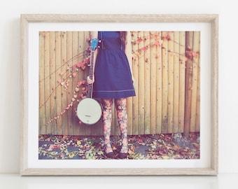Portrait Photograph, Banjo Player Portrait, Fashion Photography, Autumn Leaves Feminine Floral, dreamy brown blue pink, Pretty Decor