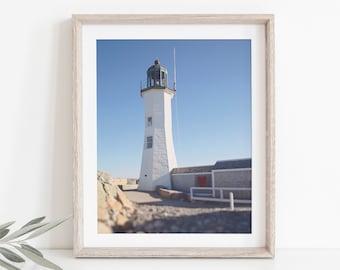 Scituate Lighthouse Photograph, New England Photography, Coastal Decor, Minimal Photo, Beach Art Print, Lighthouse Art, Nautical Photo
