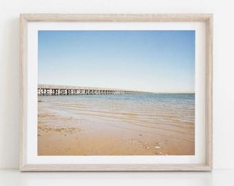 Beach Photography, Ocean Landscape, Duxbury Massachusetts, Duxbury Beach, Boardwalk Bridge, Minimalist, Minimal Art Print, Beach Print