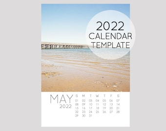 2022 Calendar Template, 5x7 size loose sheet 12 month calendar, Downloadable calendar file, Fresh Clean Minimalist Minimal Modern Template