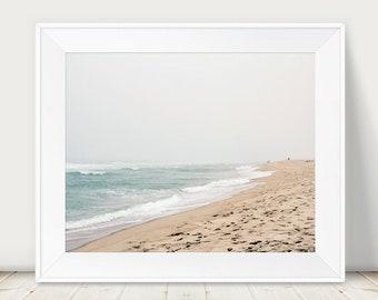 Beach Landscape, Beach Photography, Nantucket Art Print, Surfside Beach, Ocean Art, Sea Blue, Soft Fog, Coastal Photography, New England