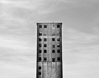 Black and White Photography, Urban Decay, Architecture, Buffalo Photography, Grain Elevator, Abandoned, Urbex, Urban, Minimal Modern Art