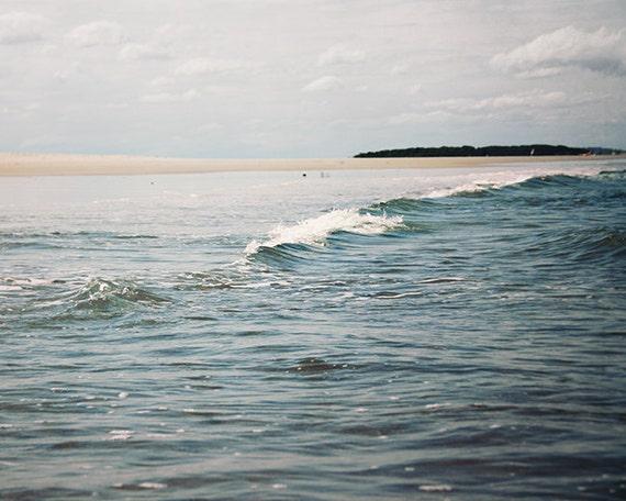 Landscape BeachScape Ocean Photograph Fine Art Blue One Cloud with Ocean