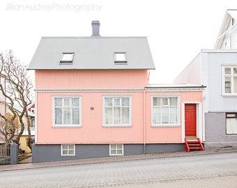 Travel Photography, Reykjavik, Iceland Photograph, Pink House, Pastel, City Street Art, Whimsical, Housewarming Gift, Wanderlust Print House