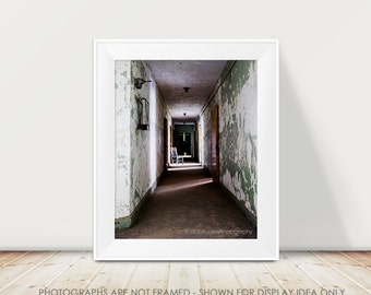 Architecture Photograph, Abandoned Photograph, Urban Decay Urban Exploration, Dark Hallway, Green and White, Perspective Fine Art Print