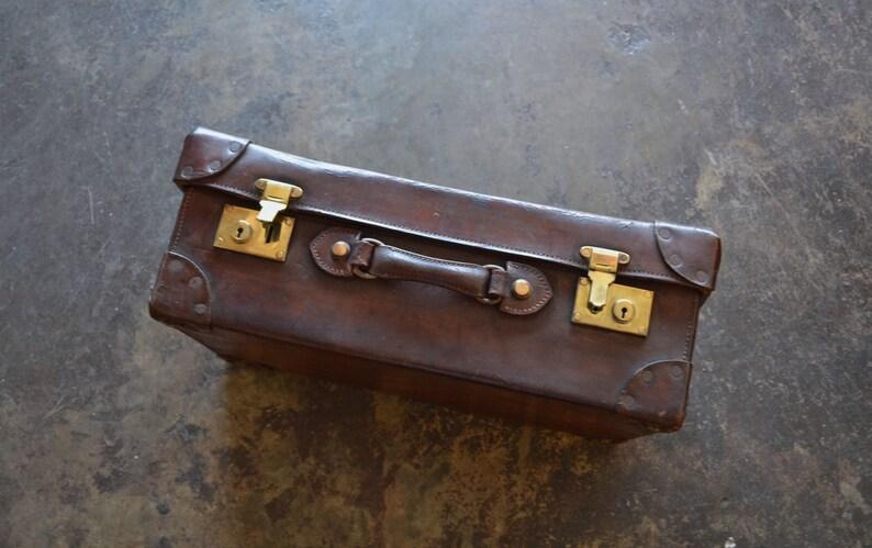 87c489f08 English 19th Century Leather Suitcase Leather Suitcase Old | Etsy