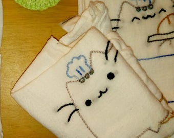CUSTOM: Hand-Embroidered Dish Towel of dat Pusheen dough