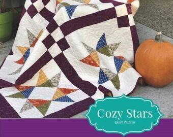 Quilt Pattern Cozy Stars PDF Digital Fat Quarter, Scrap, Charm Pack Friendly