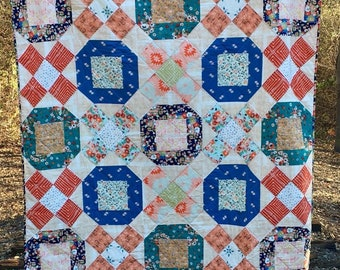 Love Story Fabric Modern Quilt  X's and O's Maureen Cracknell Throw Blanket Twin