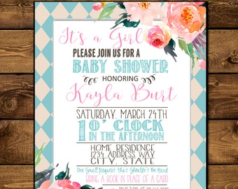 Printable - Baby Shower Invitations Personalized 5X7 Size
