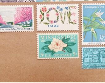 vintage postage stamps design by virginia sauder by verdestudio