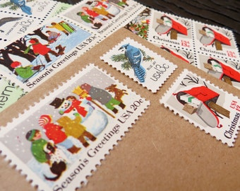 UNused Vintage Postage Stamps  .. Christmas .. Woodland Wonders .. post 5 letters