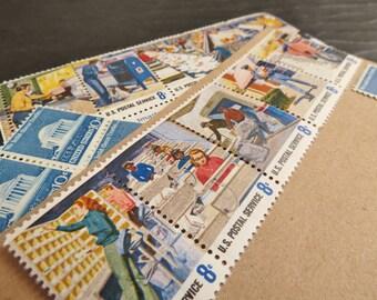 Snail Mail .. UNused Vintage Postage Stamps  .. post 5 letters