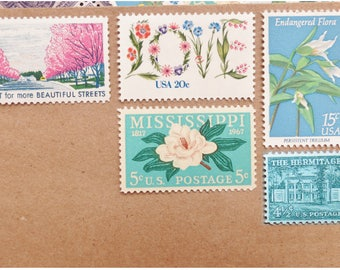 LOVE .. Flora  .. UNused Vintage Postage Stamps  .. post 5 letters