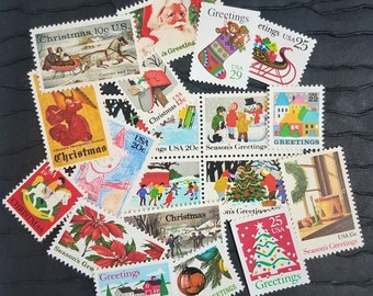Vintage Christmas II Photo Shoot / Keepsake Package .. UNused Vintage Postage Stamps