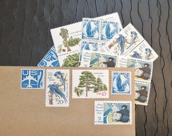 Forest .. Wings .. UNused Vintage Postage Stamps  .. post 5 letters