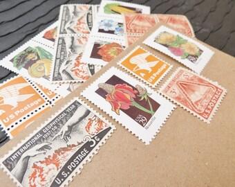 Wildflowers .. Sunset .. UNused Vintage Postage Stamps  .. post 5 letters