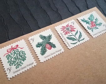 20 Vintage Postage Stamps .. Christmas .. Evergreens .. 5cent stamps .. UNUSED ... #1254+ setenant set