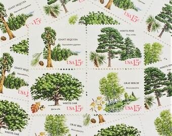 20 Vintage Postage Stamps .. American Trees .. 15cent stamps .. UNUSED .. #1764+ setenant set
