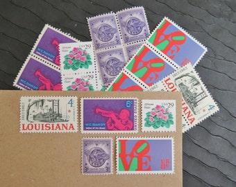 Violets are Blue.. like Jazz  .. UNused Vintage Postage Stamps  .. post 5 letters