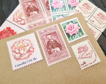 Pink .. LOVE .. UNused US Vintage Postage Stamps  .. post 5 letters