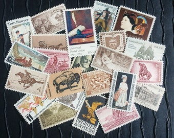 50 US Vintage Postage Stamps .. Shades of SEPIA .. curated collection .. UNUSED