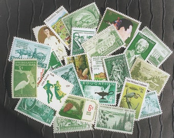 20 US Vintage Postage Stamps .. Shades of GREEN .. curated collection .. UNUSED