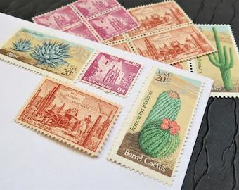 Desert Rose .. UNused US Vintage Postage Stamps  .. post 5 letters
