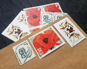 Garden in Red .. UNused Vintage Postage Stamps  .. post 5 letters