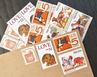 For the Love of .. Dogs .. UNused Vintage Postage Stamps  .. post 5 letters