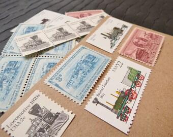 Railroads and Locomotives .. UNused Vintage Postage Stamps  .. post 5 letters