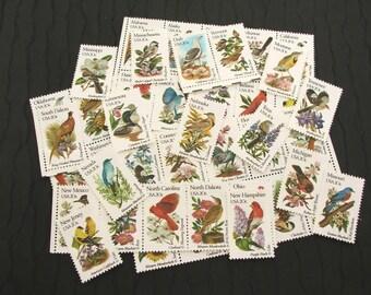 Birds and Flowers .. UNused Vintage Postage Stamps  .. post 5 letters