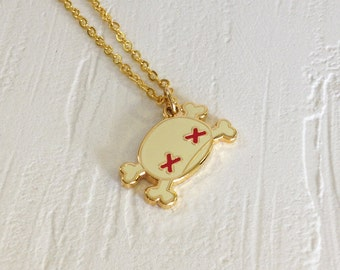 Skull & Crossbones Necklace - 14k Gold Filled Chain + 18k Gold Plated Charm Pendant