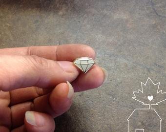 Solitaire Diamond Lapel Pin - 14k Gold Plated Hard Enamel Cloisonné Pin Badge, Stylish Stocking Stuffer, BFF / Girlfriend / Bridesmaid Gift