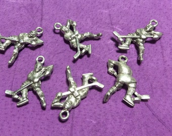 Hockey Player Pewter Charms