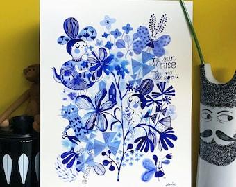 Little Blues. . . original watercolor... 12 in x 16 in...