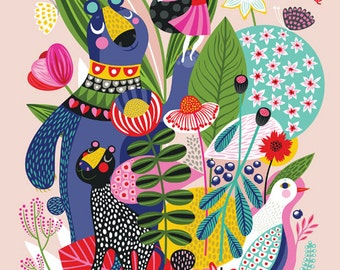 Adventure Sprouts... - limited edition giclee print of an original illustration (8 x 10 in)