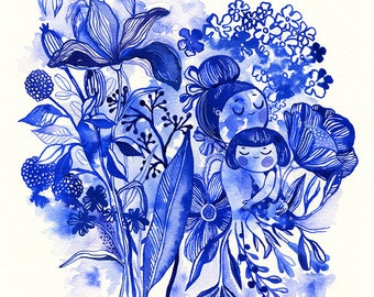 Sweet blues...  limited edition giclee print of an original watercolor illustration (8 x 10 in)