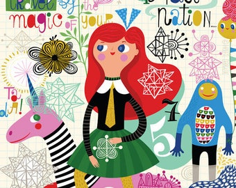 Travel by Magic - limited edition giclee print of an original illustration (8 x 10 in)