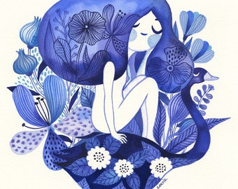 Indigo Blues... - limited edition giclee print of an original watercolor illustration (8 x 8 in)
