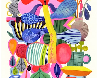 Abstract Gardening... - limited edition giclee print of an original watercolor illustration (8 x 10 in)