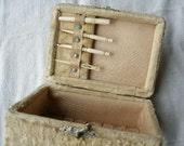 Victorian Sewing Box, with bone Bodkin, needle case, crochet hook, ribbon needle, ca 1890
